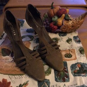 Ralph Lauren Olive Suede Sling Back Heels